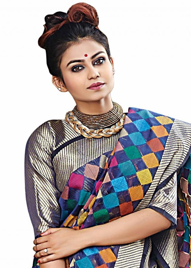 Navy blue saree in chanderi silk with multi color checks with gold border