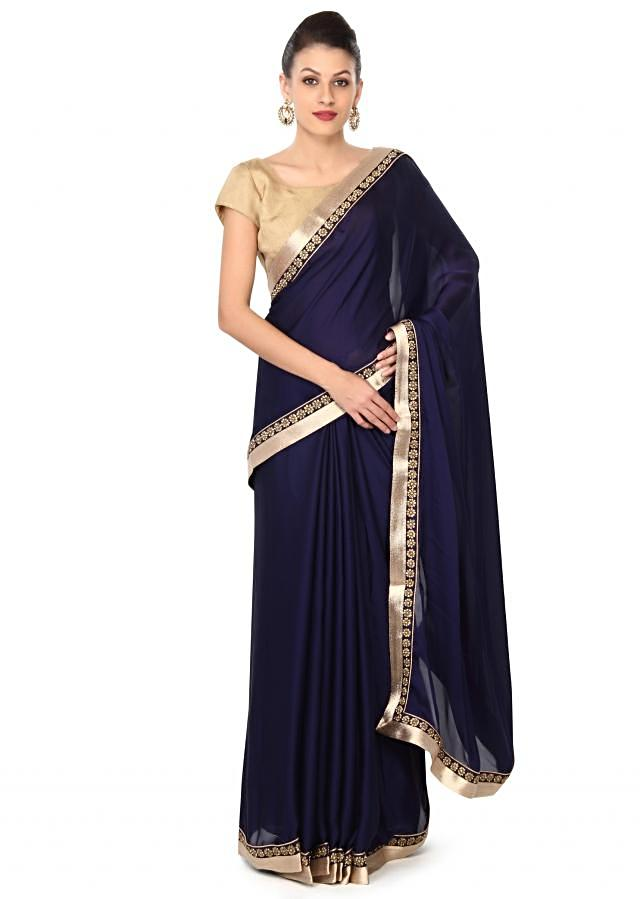 Navy blue saree in kundan border only on Kalki