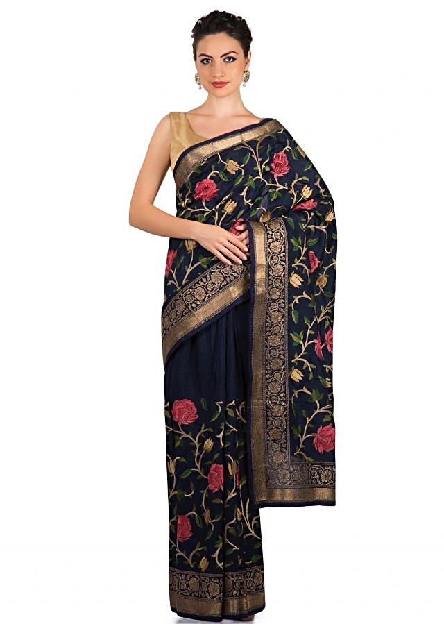 Navy blue saree in resham and zari weaved embroidery only on Kalki