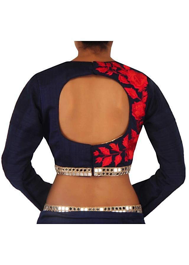 Navy blue saree in rose motif embroidery only on Kalki