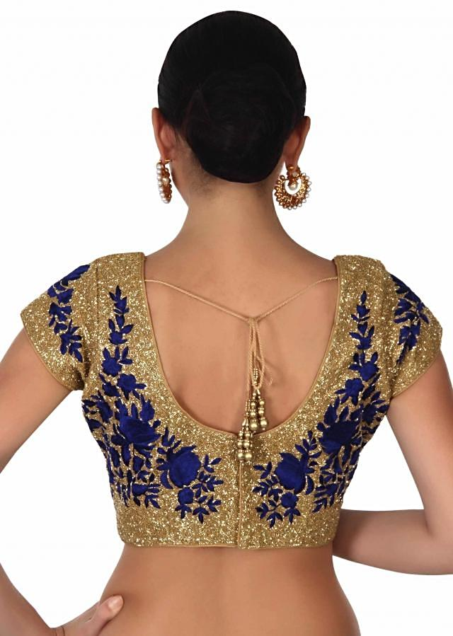 Navy blue saree with kardana embroidery only on Kalki