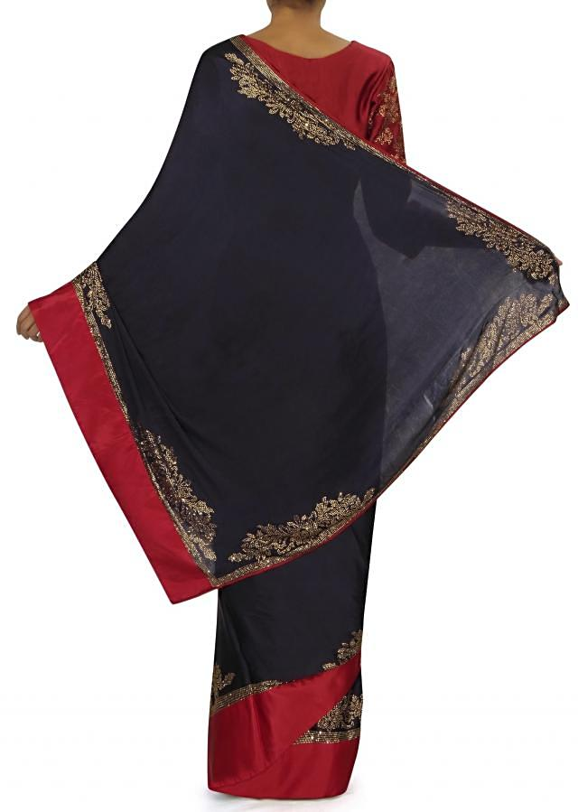 Navy Blue Saree With Red Embroidered Stitched Blouse Online - Kalki Fashion