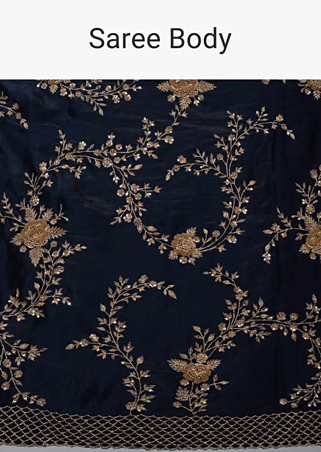 Navy blue satin saree in cut dana and zardosi floral jaal embroidery only on Kalki