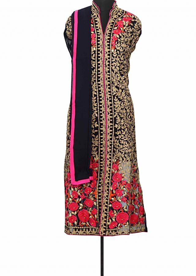 Navy blue semi stitched suit enhanced in zari and resham embroidery only on Kalki