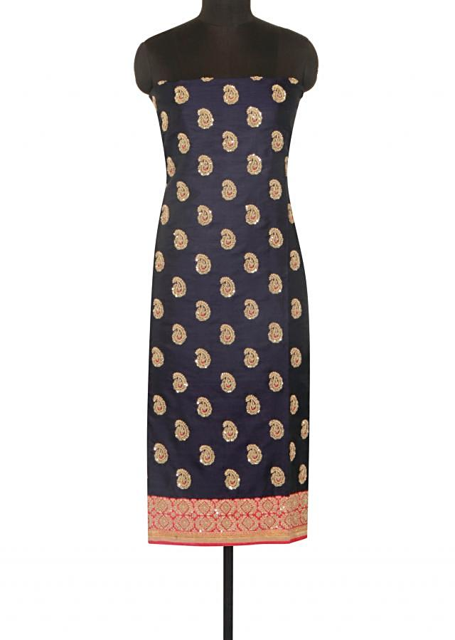 Navy blue semi stitched suit in paisley motif embroidery only on Kalki