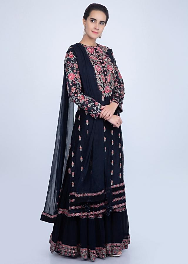 Navy blue sharara suit set in multi color floral embroidery only on Kalki