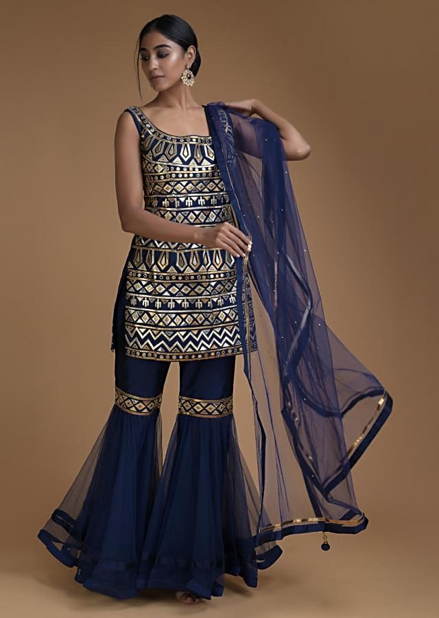 Navy Blue Sharara Suit With Foil Applique In Tribal Pattern Online - Kalki Fashion
