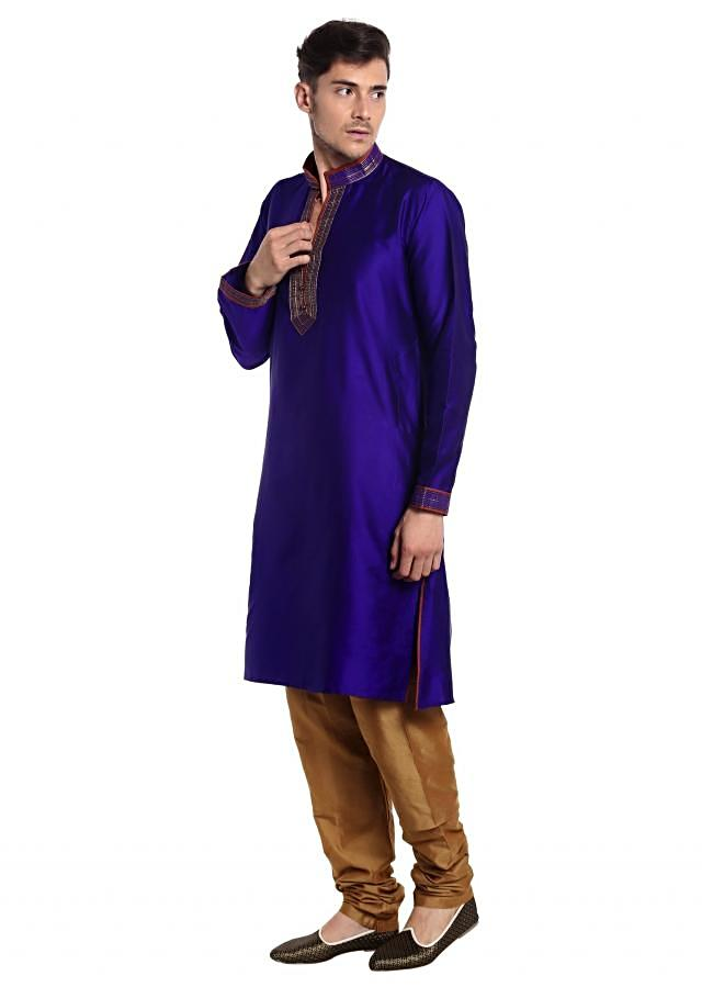 Navy Blue kurta with Maroon Waistcoat Adorned with Resham Embroidery only on Kalki