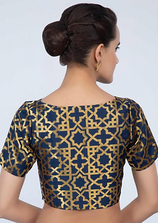 Navy blue silk blouse with brocade work only on Kalki