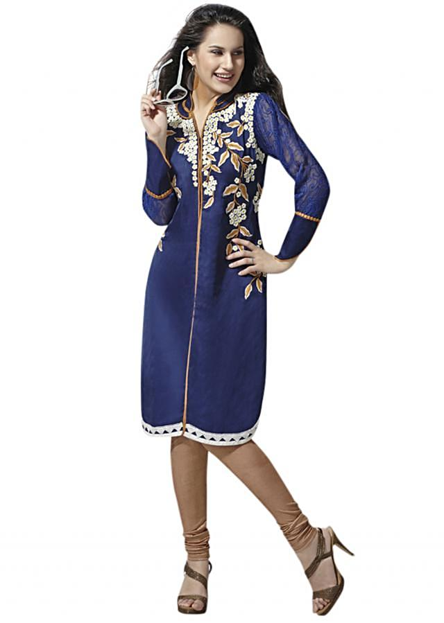 Navy blue silk kurti embellished in resham embroidery only on Kalki