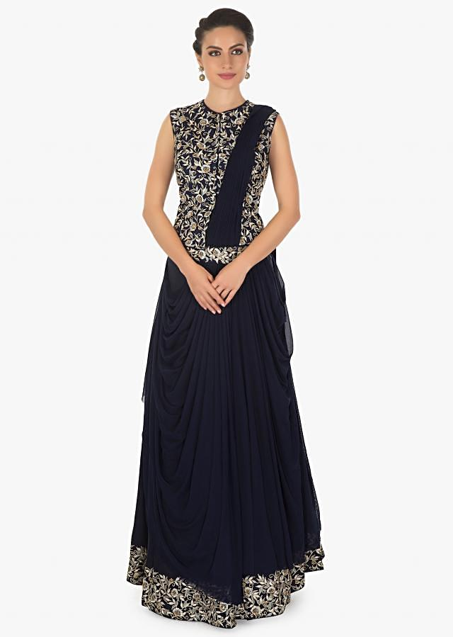 Navy blue silk lehenga with attached pre stitched dupatta only on kalki