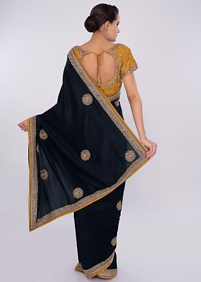 Navy Blue Silk Saree With Embroidered Mustard Blouse Online - Kalki Fashion
