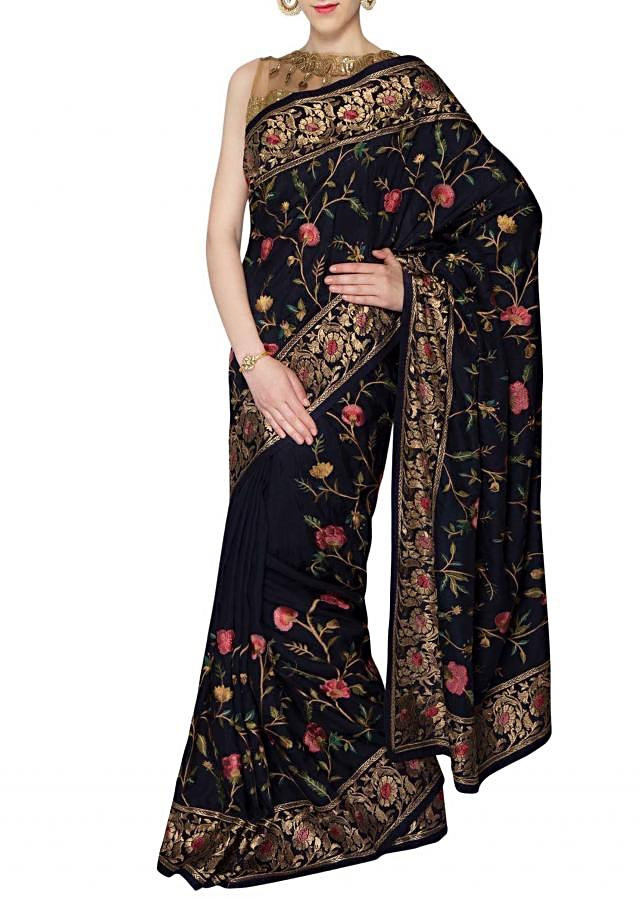 Navy blue silk saree with resham and zari border only on Kalki