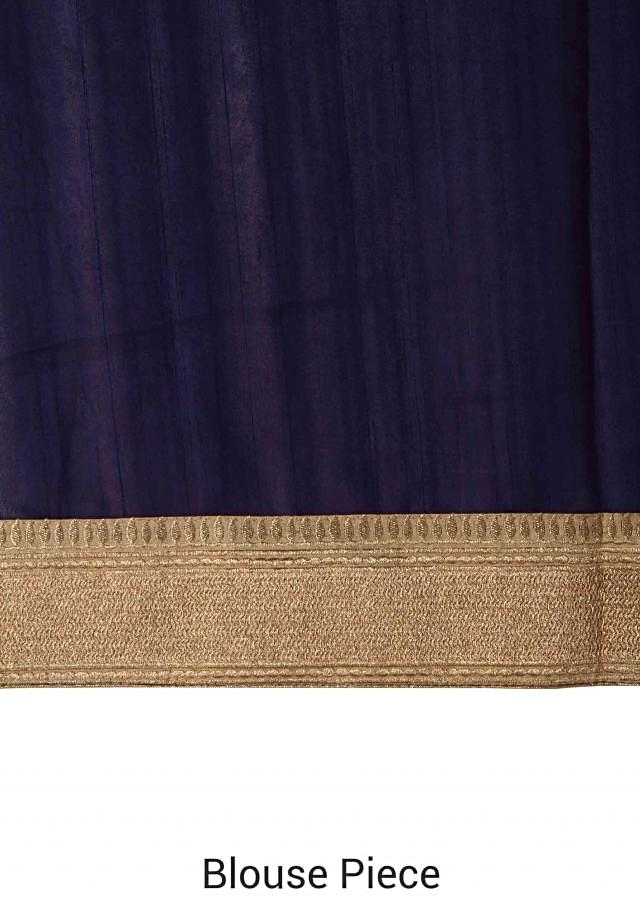 Navy blue silk saree with weave embroidery only on Kalki