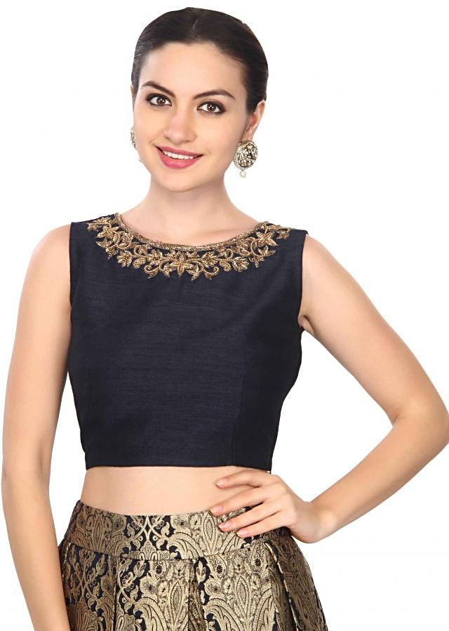Navy blue skirt matched with embroidered crop top only on Kalki