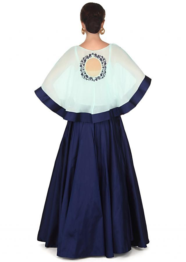 Navy blue skirt with thread embroidered cape only on Kalki