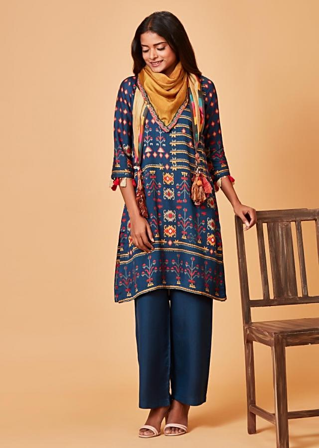 Navy Blue Straight Cut Suit With Tribal Print And Tassels Online - Kalki Fashion