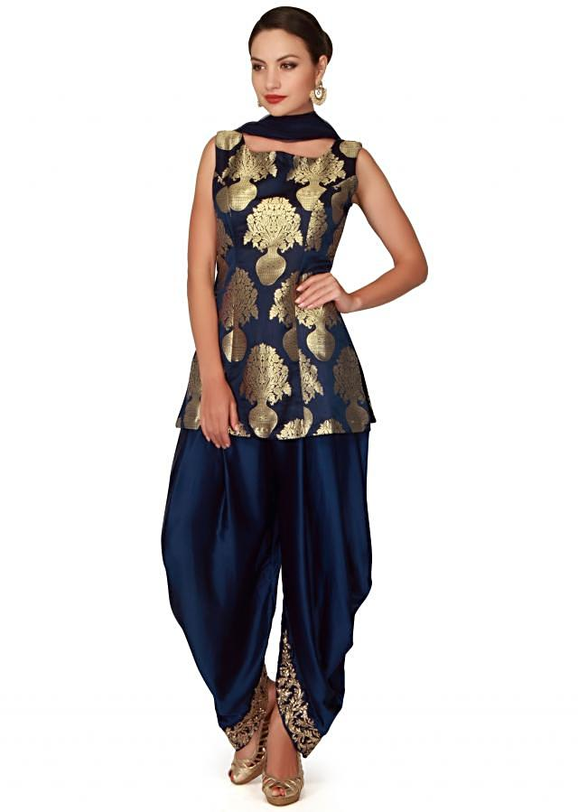Navy blue straight suit adorn in brocade silk only on Kalki