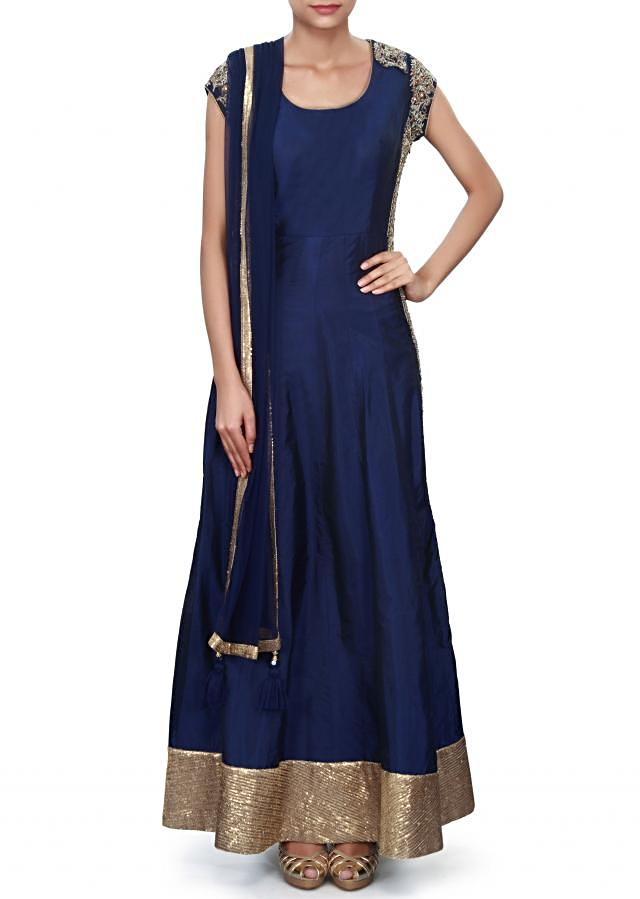 Navy blue straight suit adorn in side panels only on Kalki
