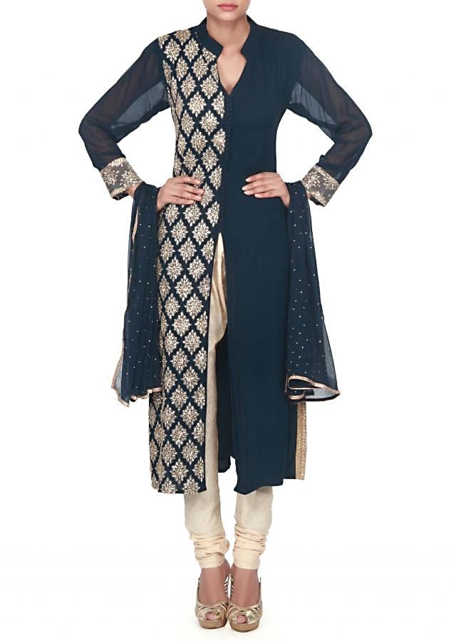 Navy blue straight suit adoring in sequin embroidery only on Kalki