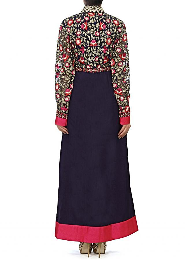 Navy blue straight suit embellished in resham embroidery only on Kalki