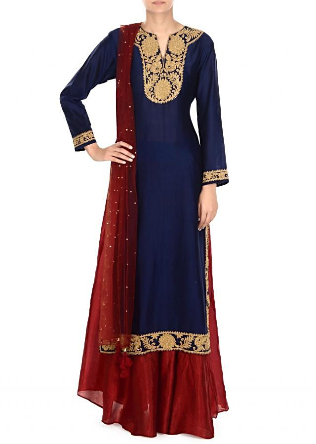 Navy blue straight suit with zari embellished placket only on Kalki