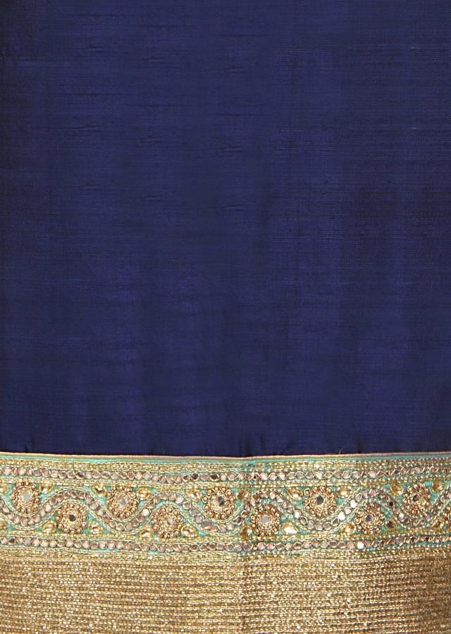 Navy blue straight suit with kardana embroidery only on Kalki