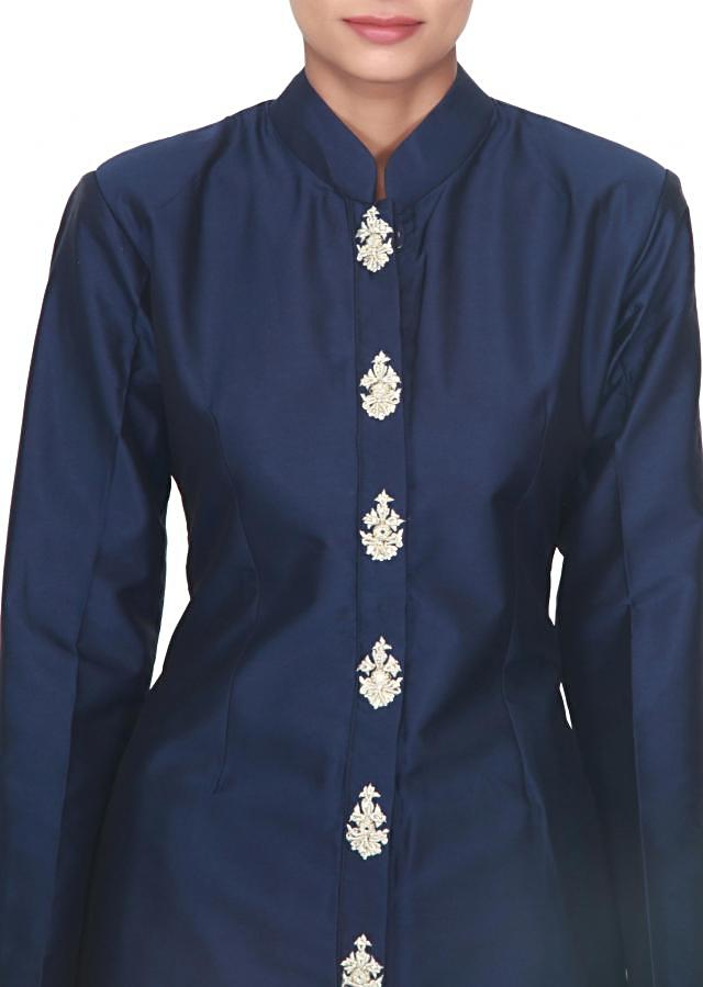 Navy blue suit adorn in embellished in placket only on Kalki