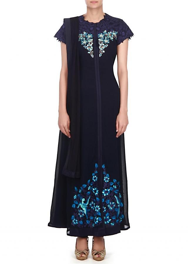 Navy blue suit adorn in sequin and resham embroidery only on kalki