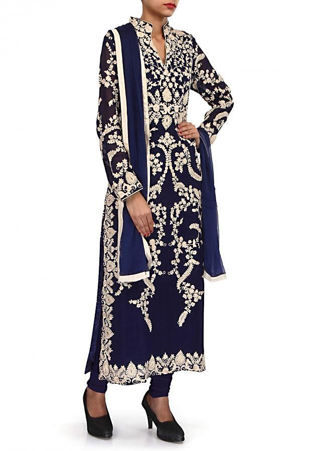 Navy blue suit adorn in thread embroidery only on Kalki