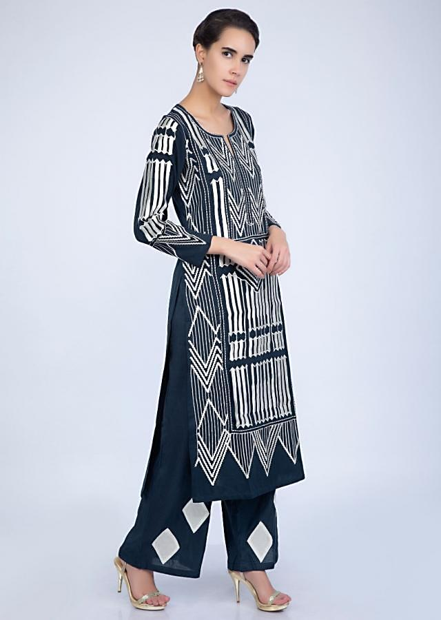 Navy Blue Suit And Pant With Resham Embroidery In Geometric Motif Online - Kalki Fashion