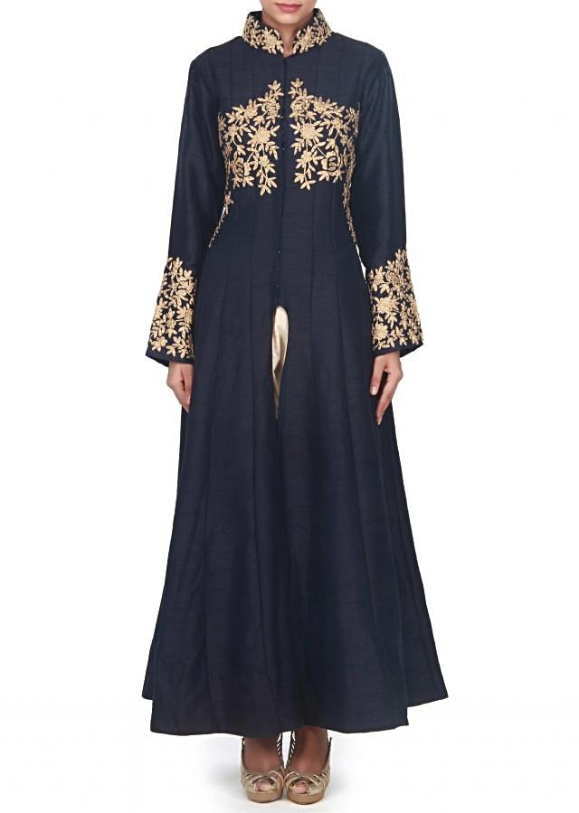 Navy blue suit adorn in zari and kundan embroidery only on Kalki