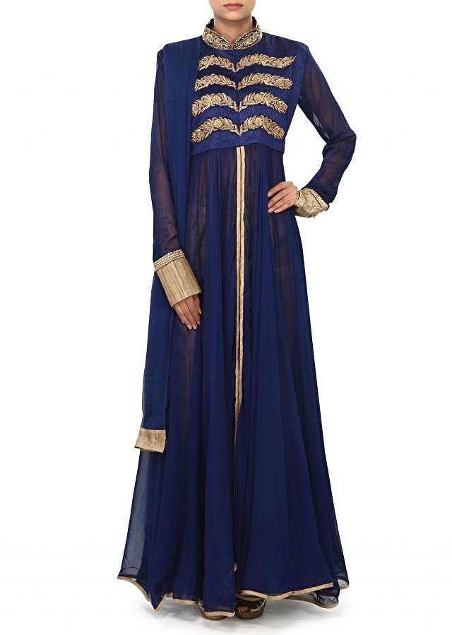 Navy blue suit embellished in zardosi and French knot embroidery only on Kalki
