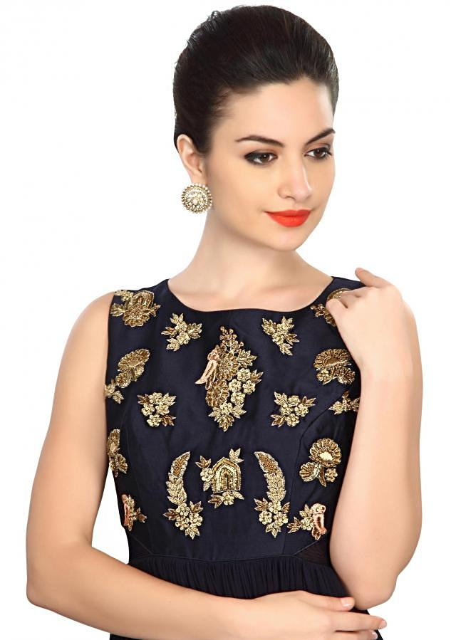 Navy blue suit embellished in zardosi embroidery only on Kalki