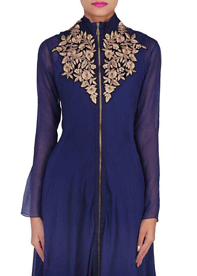 Navy blue suit embellished in zari embroidery only on Kalki