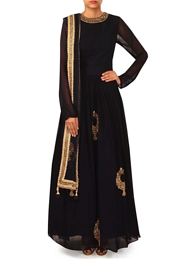 Navy blue suit in embroidered neckline and butti only on Kalki