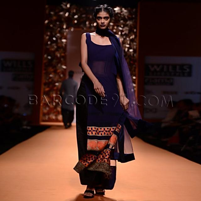 Navy blue suit with geometric border