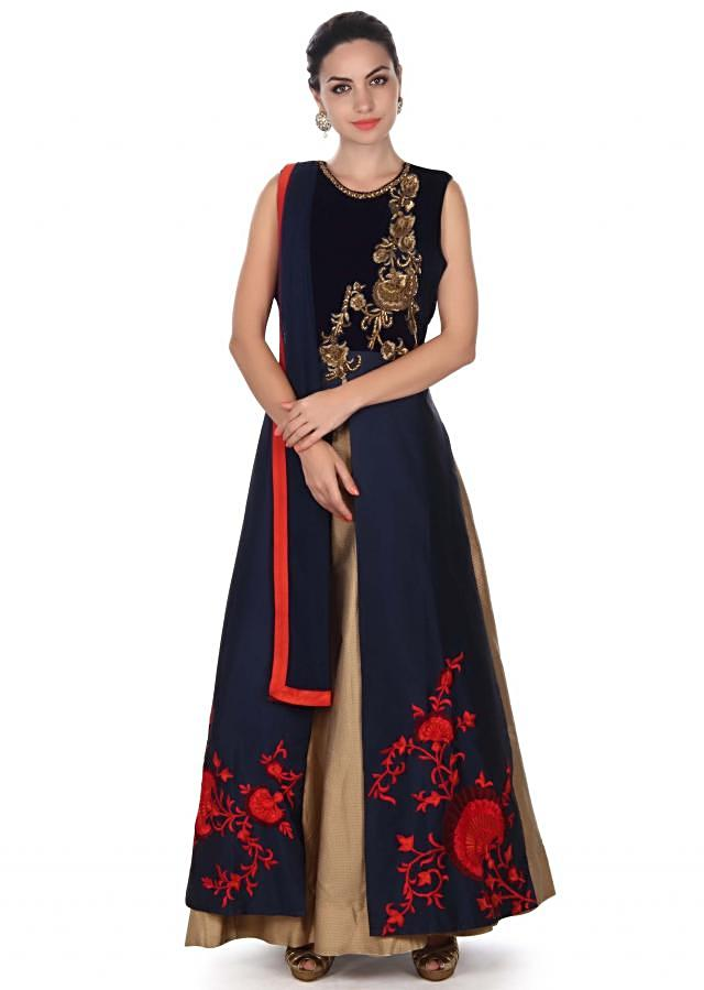 Navy blue top in zardosi and resham with gold lehenga only on Kalki