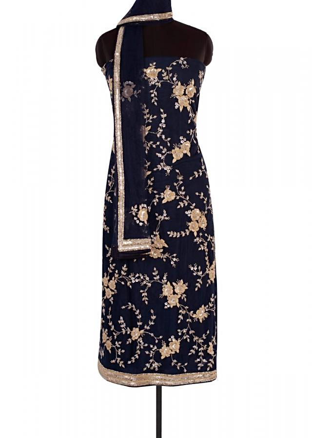 Navy Blue Unstitch Suit In Net With Cut Dana, Sequins Jaal Embroidery Online - Kalki Fashion