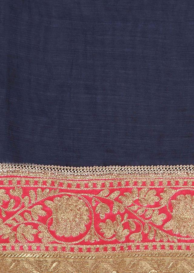 Navy blue unstitched suit adorn in aari embroidery only on Kalki