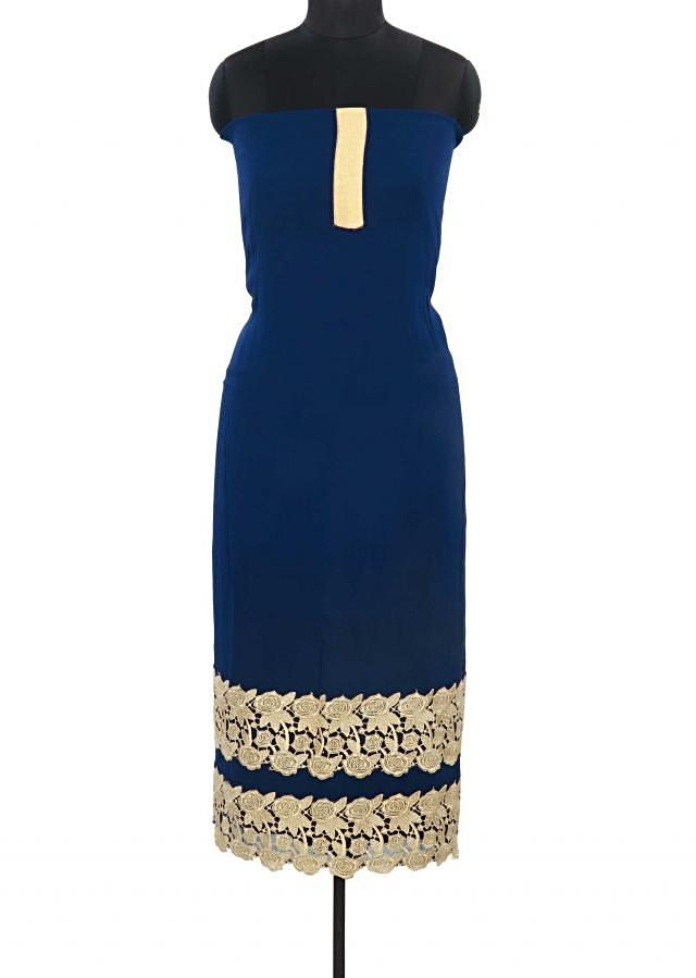 Navy blue unstitched suit adorn in gold lace only on Kalki