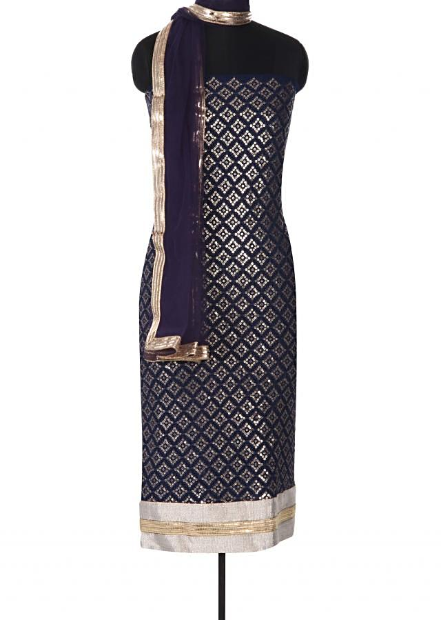 Navy blue unstitched suit adorn in sequin and thread only on Kalki