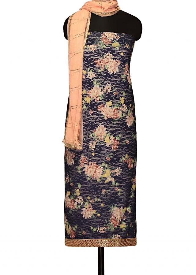 Navy blue unstitched suit enhanced in floral printonly on Kalki