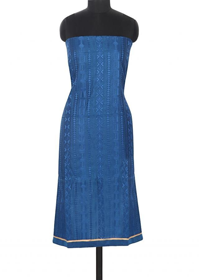 Navy blue unstitched suit featuring in thread work only on Kalki
