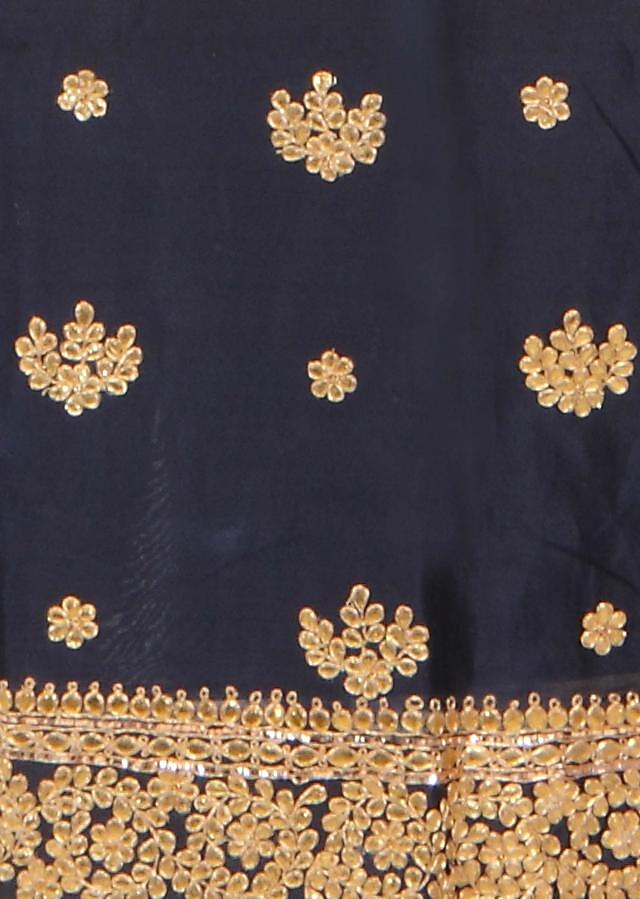 Navy blue unstitched suit in gotta patch butti only on Kalki