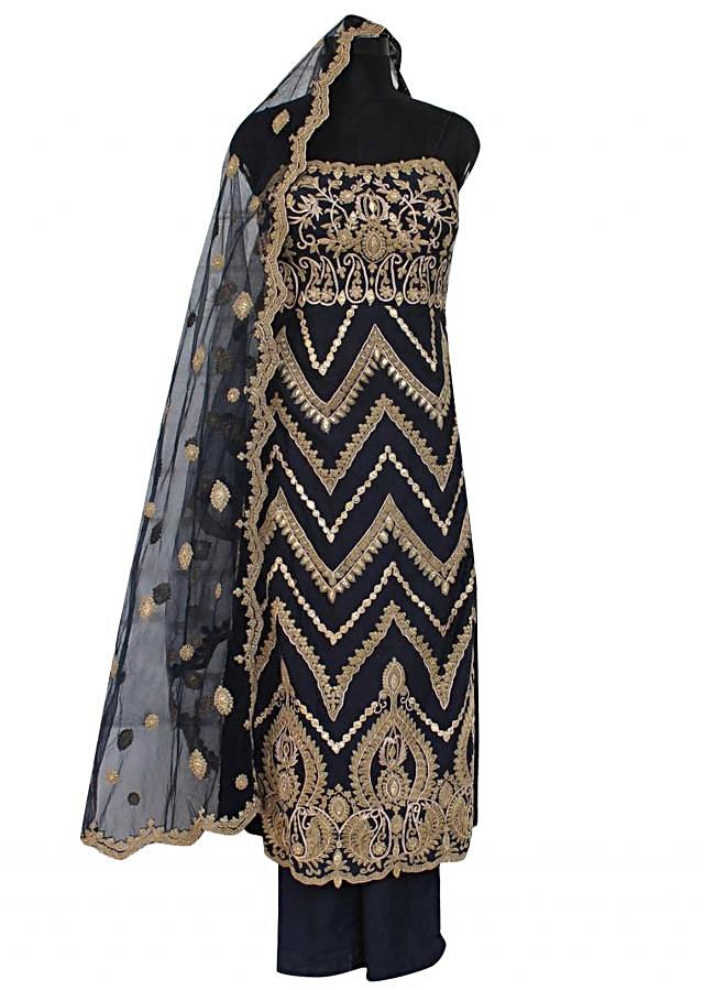Navy blue unstitched suit in resham and zari embroidery