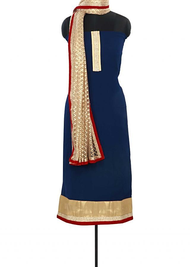 Navy blue unstitched suit matched in sequin dupatta only on Kalki