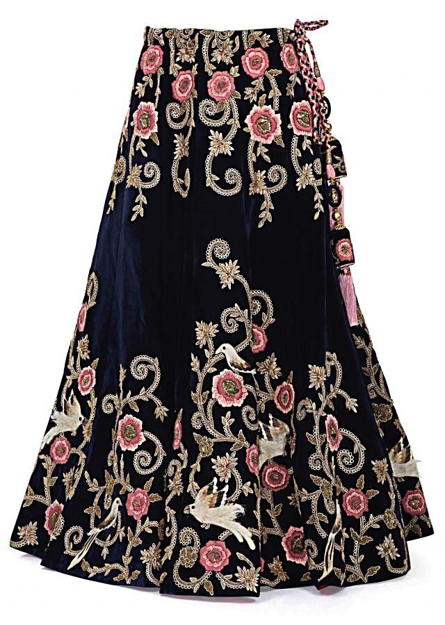 Navy Blue Velvet Lehenga, Blouse with Beige Net Dupatta Featuring Resham Embroidery only on Kalki