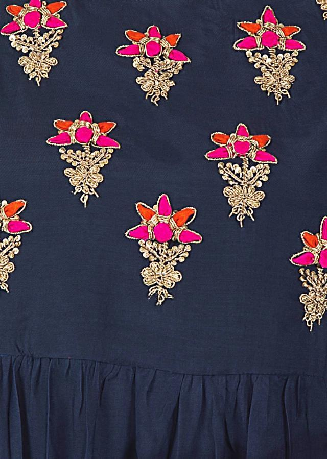 Navy blue dress adorn in embroidered butti and gathers only on Kalki
