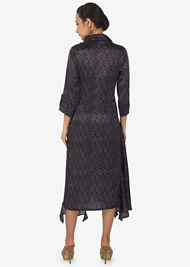 Navy blue printed kurti with attach scarf only on Kalki